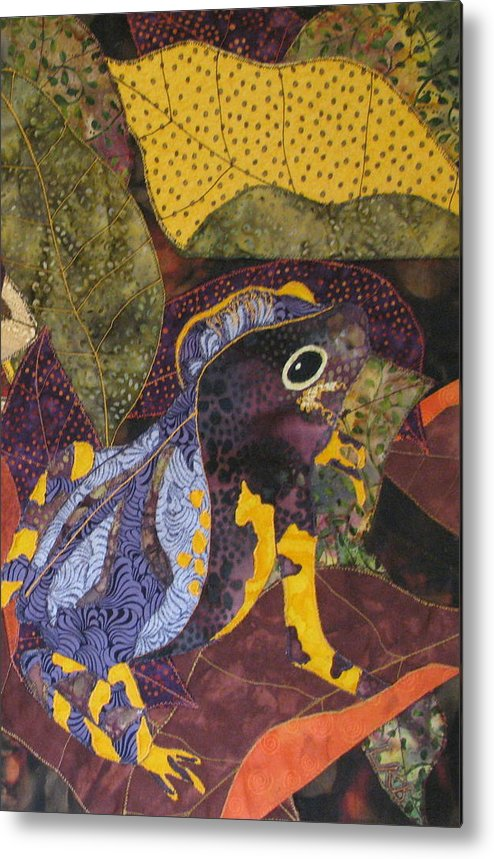 Nature Tapestries Textiles Metal Print featuring the tapestry - textile Camouflaged Forest Toad by Lynda K Boardman