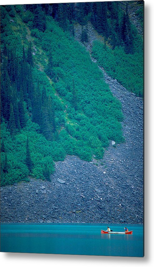 Man Metal Print featuring the photograph Canoe On Lake Louise by Carl Purcell
