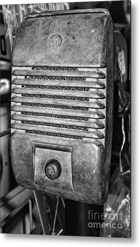 Paul Ward Metal Print featuring the photograph Drive In Movie Speaker In Black And White by Paul Ward