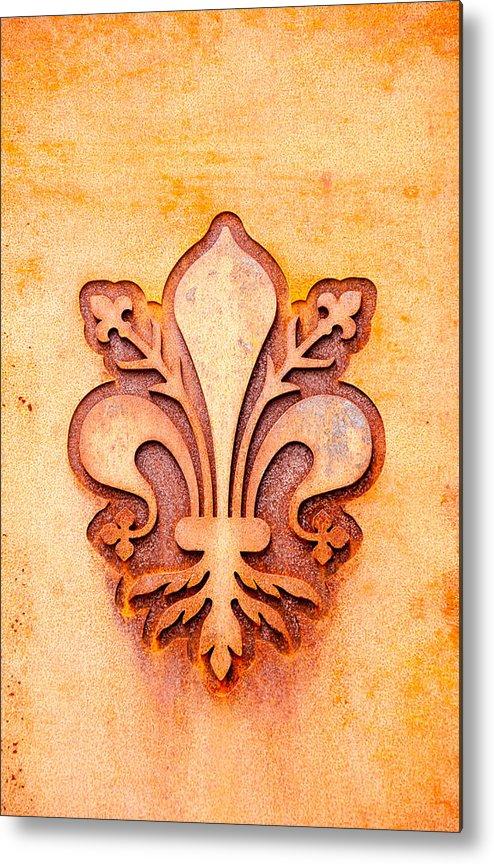 Art Metal Print featuring the photograph Fleur De Lis On A Rusty Metal Plate by Bernd Goettlicher