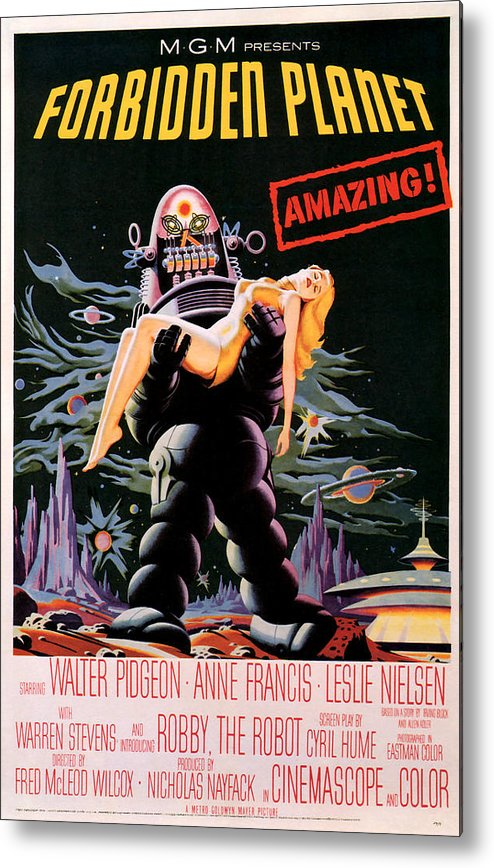Sci Fi Metal Print featuring the mixed media Forbidden Planet 1956 by Presented By American Classic Art