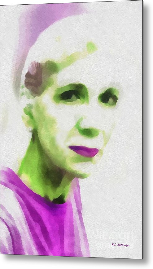 Woman Metal Print featuring the painting Gazing Through Glass by RC DeWinter