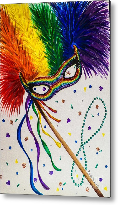 Party. Mask. Rainbow. Confetti. Colorful. Fine Art. Design. Alluring. Marti Gras. Metal Print featuring the painting It's Party Time by Dawn Siegler