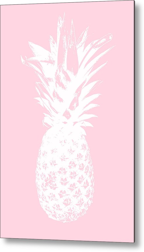 Pineapple Metal Print featuring the mixed media Pink And White Pineapple by Linda Woods