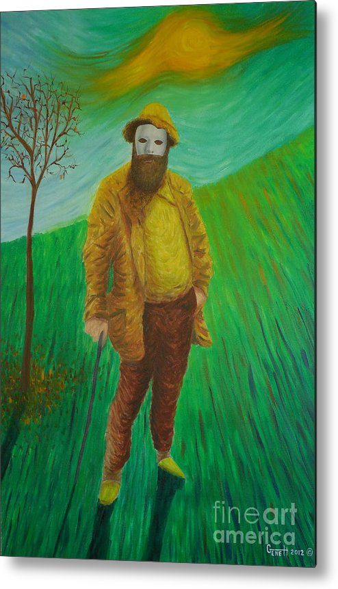 Portrait Metal Print featuring the painting Portrait Of Claude Monet by Gene Huebner