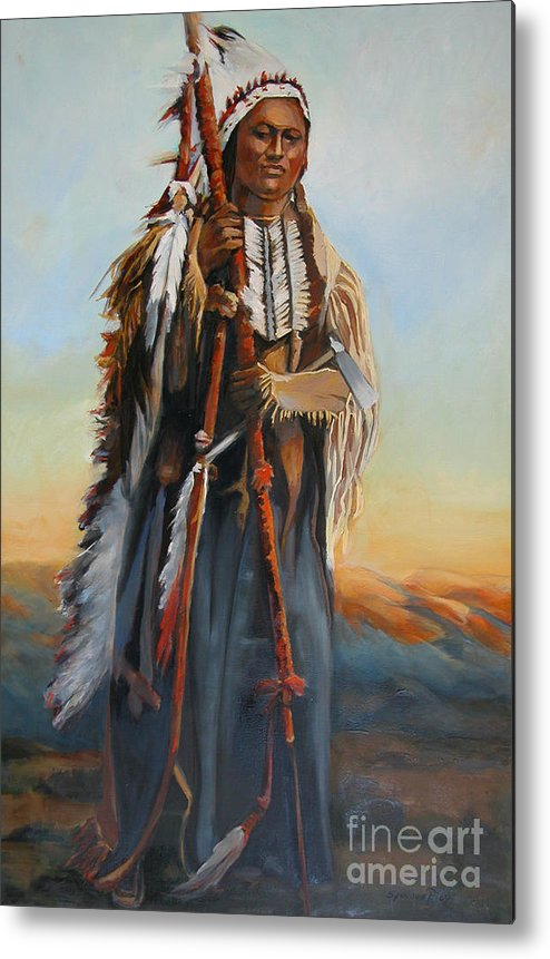American Indian Portrait Metal Print featuring the painting Powderface by Synnove Pettersen