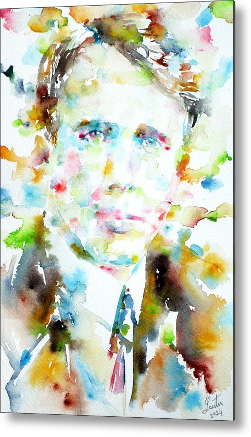 Robert Frost Metal Print featuring the painting Robert Frost . Watercolor Portrait by Fabrizio Cassetta