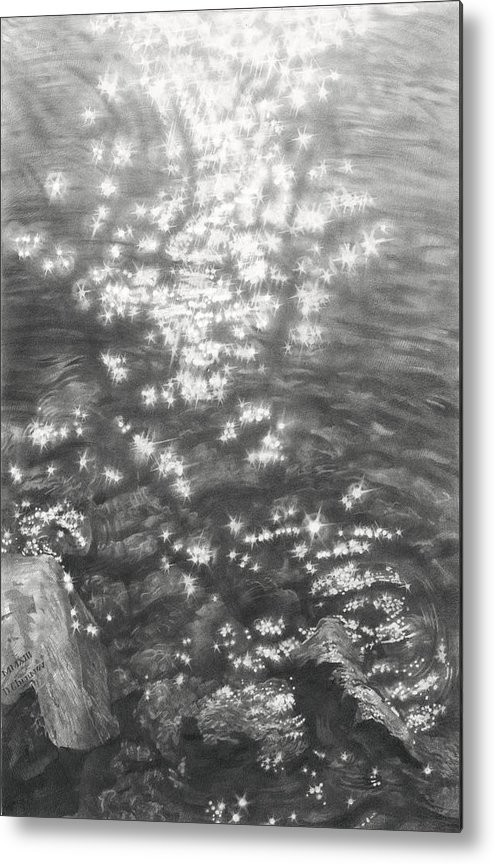 Water Metal Print featuring the drawing Sun In Water 2013 by Denis Chernov