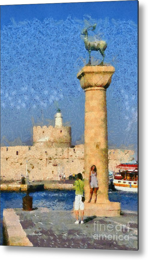 Rhodes Metal Print featuring the painting Taking Pictures At The Entrance Of Mandraki Port by George Atsametakis