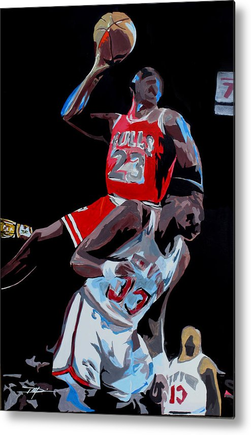 Michael Jordan Metal Print featuring the drawing The Dunk by Don Medina