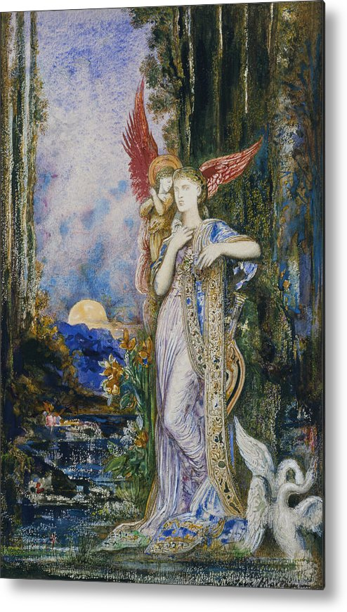 Angels; Moon; Female; Symbolism; Symbolist Metal Print featuring the painting The Inspiration by Gustave Moreau