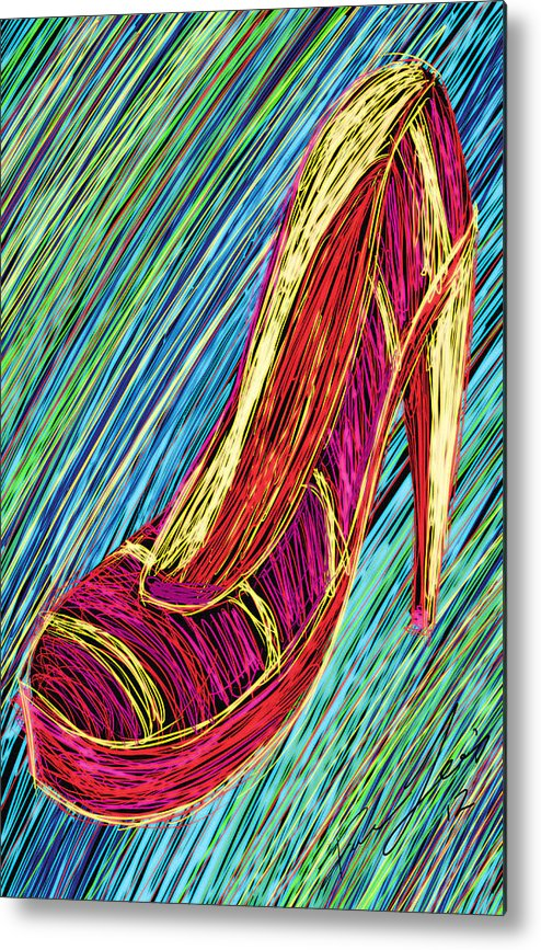 80s High Heels Metal Print featuring the painting 80's High Heels by Kenal Louis