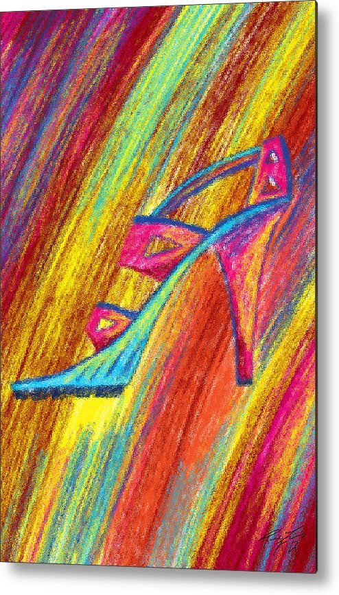 A High Heel Metal Print featuring the painting A High Heel by Kenal Louis