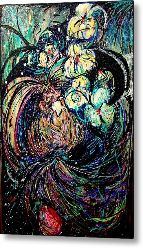 Bird Metal Print featuring the mixed media Bird And Flowers by YoMamaBird Rhonda