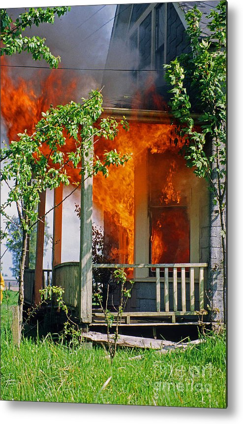 Fire Metal Print featuring the photograph Burning House by Randy Harris