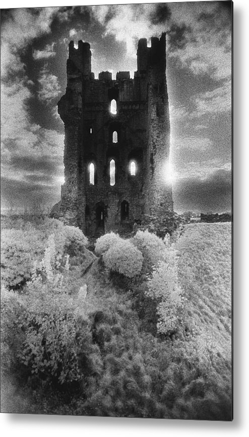Medieval; Glowing; Sunlight Metal Print featuring the photograph Helmsley Castle by Simon Marsden