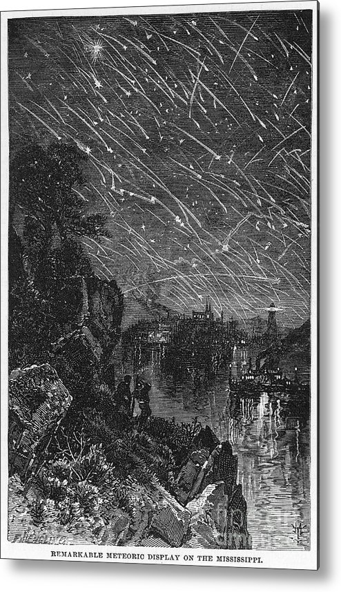 1833 Metal Print featuring the photograph Leonid Meteor Shower, 1833 by Granger