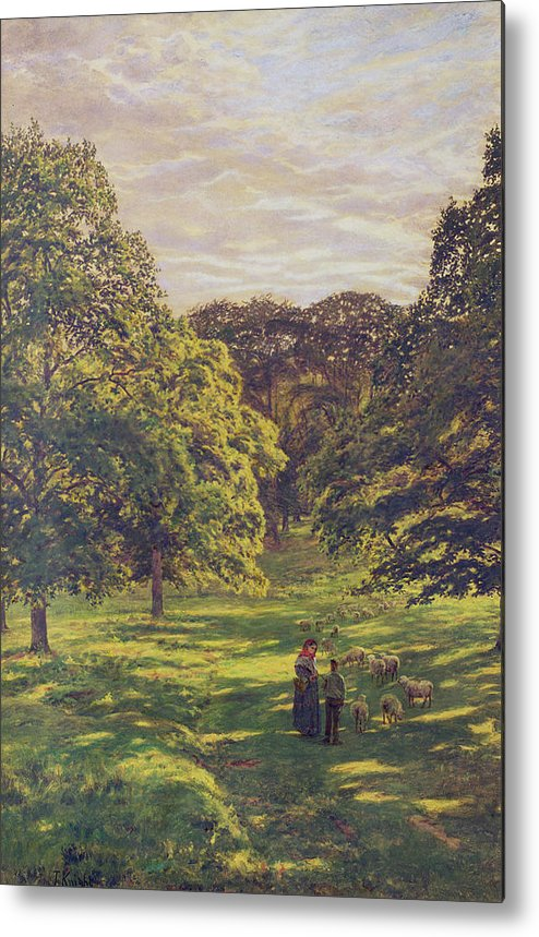 Woods; Shadows; Trees Metal Print featuring the painting Meadow Scene by John William Buxton Knight