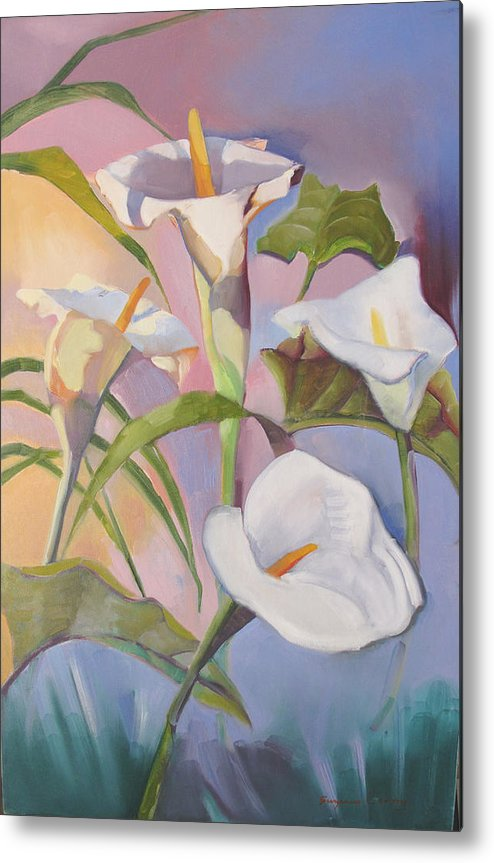Floral Metal Print featuring the painting Sunrise Callas by Suzanne Cerny