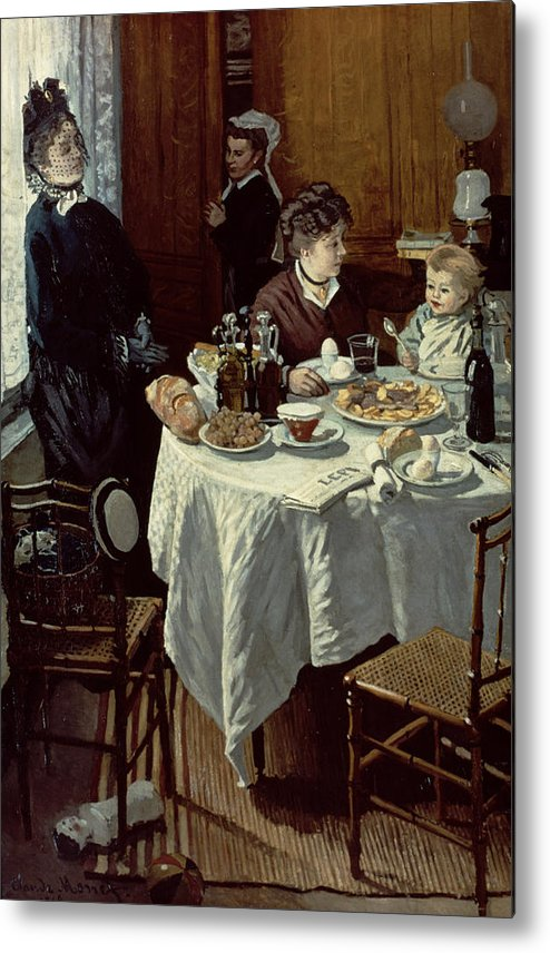 Interior;family;baby;impressionist;maid;feeding;meal;eating;food;daily Life;petit Dejeuner;table;boiled Eggs Metal Print featuring the painting The Breakfast by Claude Monet