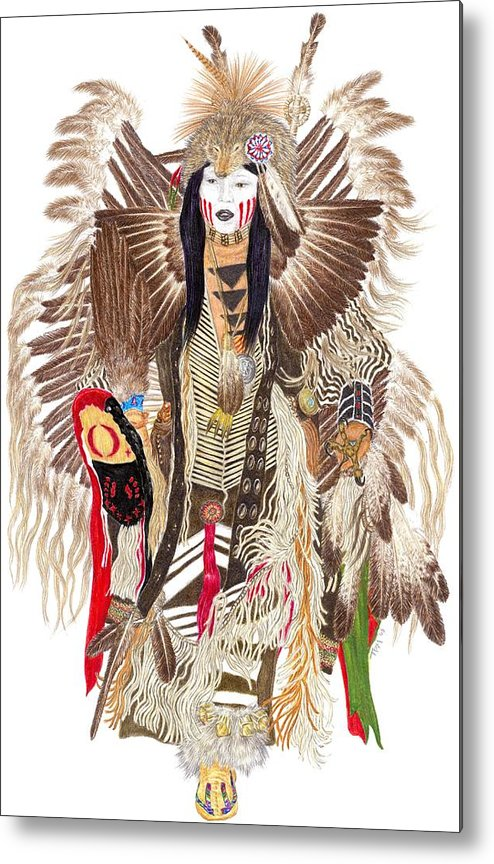 Pow-wow Metal Print featuring the drawing Traditional Pow-wow Dancer 1 by Tim McCarthy