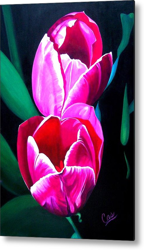 Tulips Metal Print featuring the painting Tulips by Karen Casciani