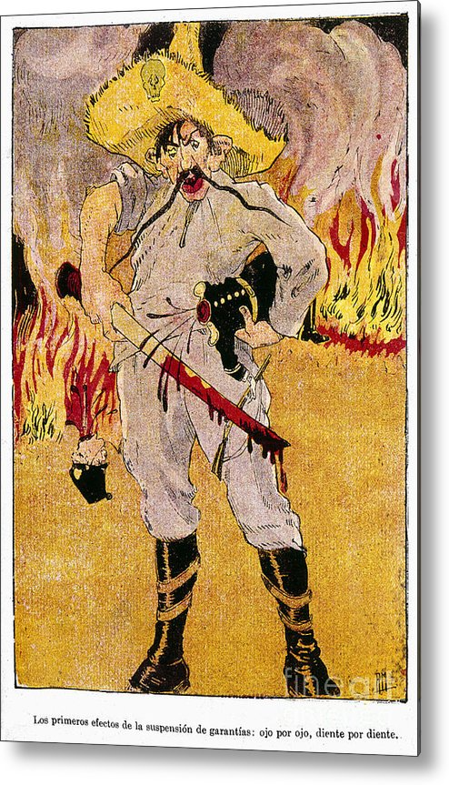 1910s Metal Print featuring the painting Mexico: Political Cartoon by Granger