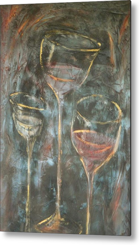 Abstracticle Still Life Metal Print featuring the painting Dancing Glasses by Chuck Gebhardt