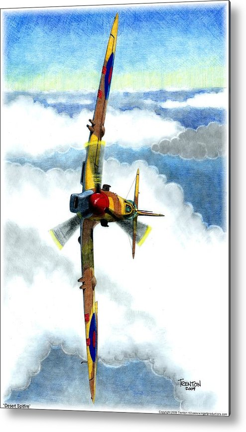 Aircraft Metal Print featuring the drawing Desert Spitfire by Trenton Hill