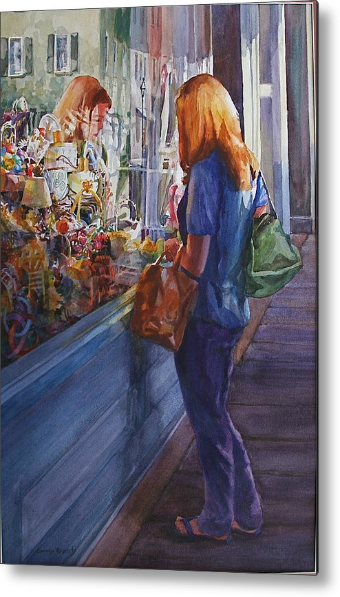 Metal Print featuring the painting King Street Reflections by Carolyn Epperly