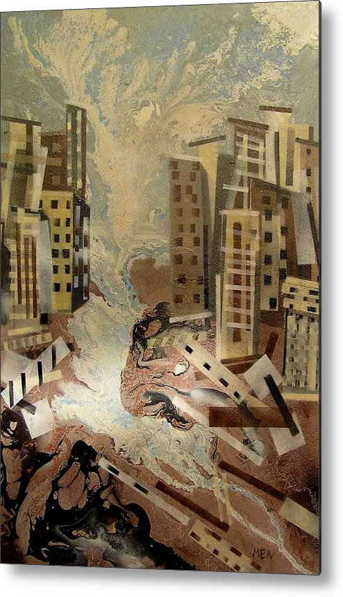 Metal Print featuring the painting Skyleaking City by Evguenia Men