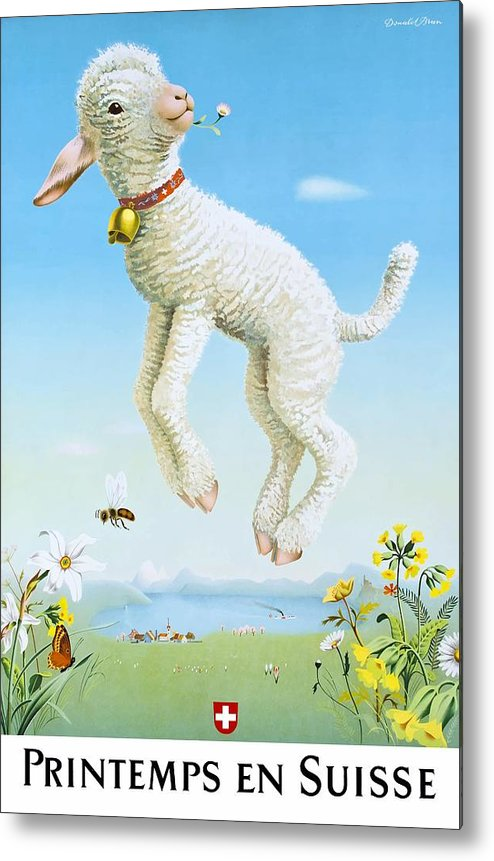 Lamb Metal Print featuring the digital art 1945 Spring In Switzerland Travel Poster by Retro Graphics