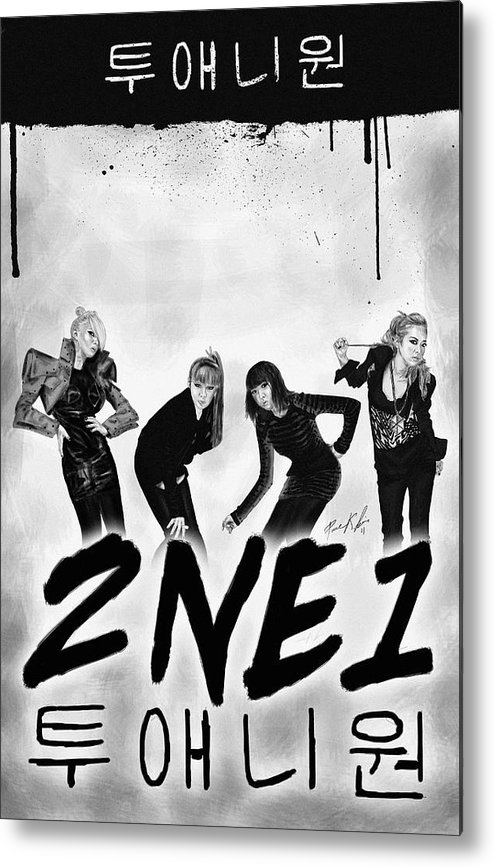 2ne1 투애니원 Power Metal Print featuring the digital art 2ne1 Korean Pop Power by Kenal Louis