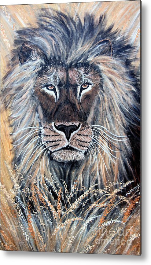 Lion Metal Print featuring the painting African Lion by Nick Gustafson