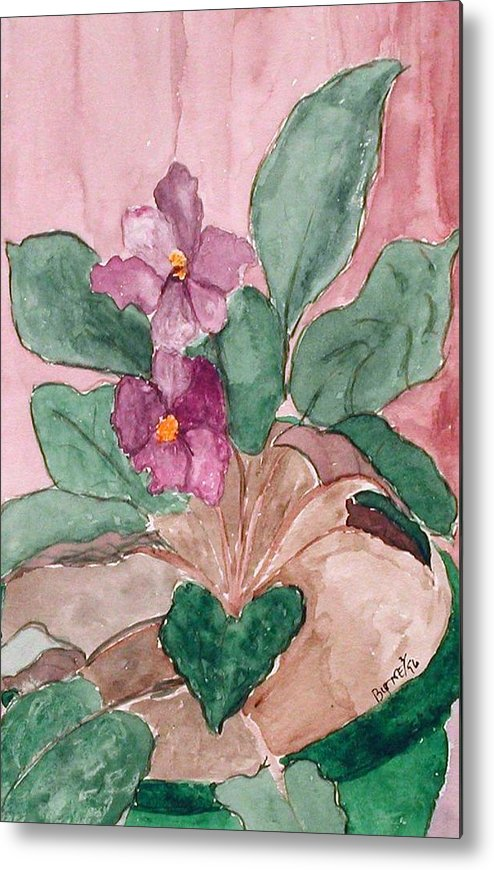 Watercolor Metal Print featuring the painting African Violet by Margie Byrne