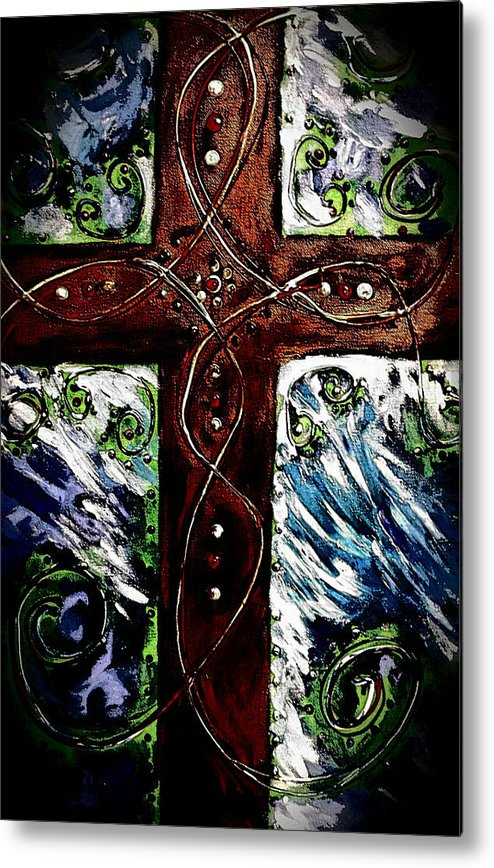 Cross Metal Print featuring the painting Ancient Cross by Hae Kim
