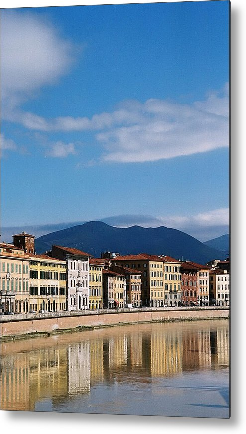 Pisa Metal Print featuring the photograph Arno River Pisa Italy by Kathy Schumann