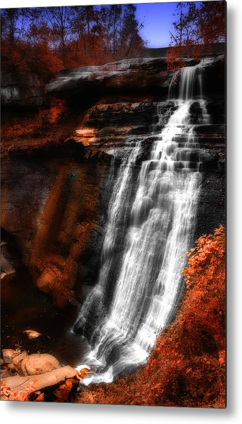 Autumn Metal Print featuring the photograph Autumn Waterfall 3 by Kenneth Krolikowski