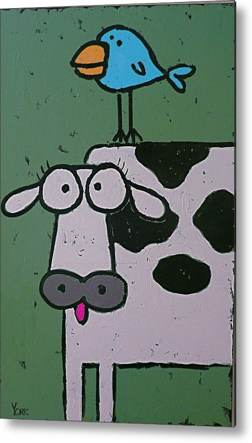 Cow Metal Print featuring the painting Backscratcher by Ron York