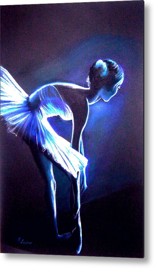 Ballet Metal Print featuring the drawing Ballet In Blue by L Lauter