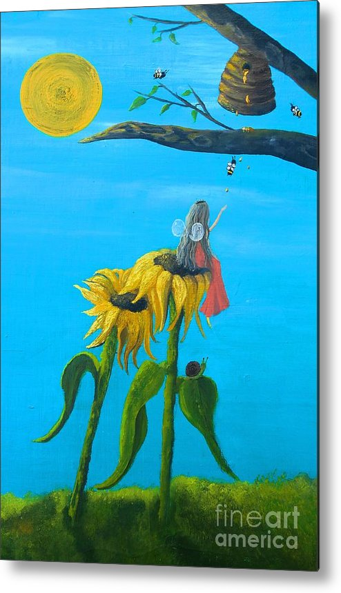 Whimsical Metal Print featuring the painting Bee Kind by Alexandra Waites