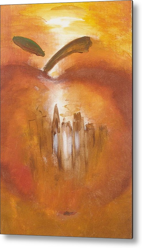 Abstract Painting Big Apple New York City Metal Print featuring the painting Big Apple by Miroslaw Chelchowski
