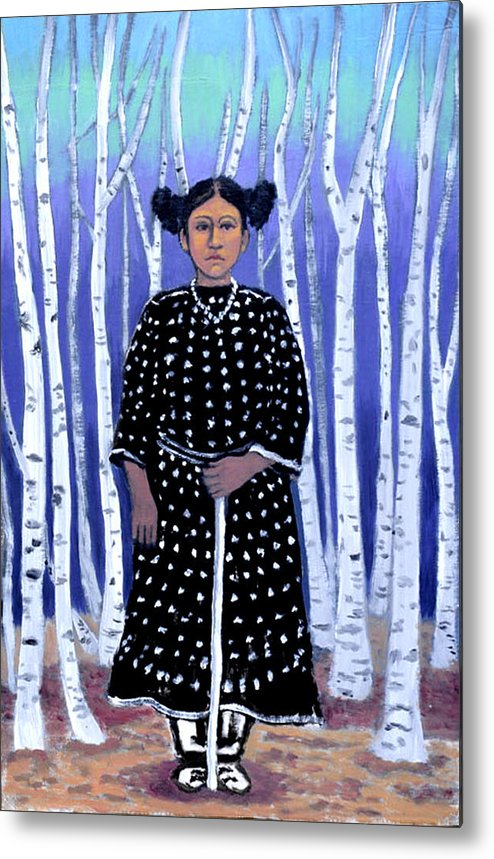 Native American Metal Print featuring the painting Birch Tree Forest by Susan Stewart