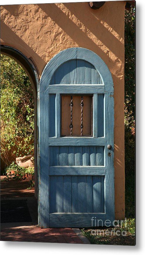 Door Metal Print featuring the photograph Blue Arch Door by Timothy Johnson