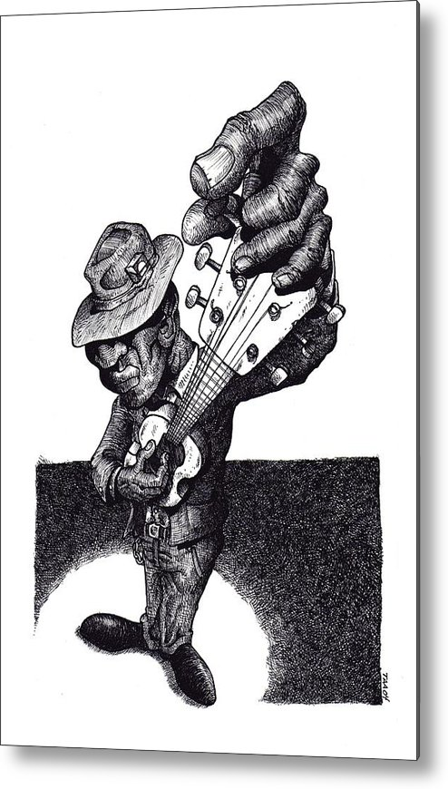Blues Metal Print featuring the drawing Blues Guitar by Tobey Anderson