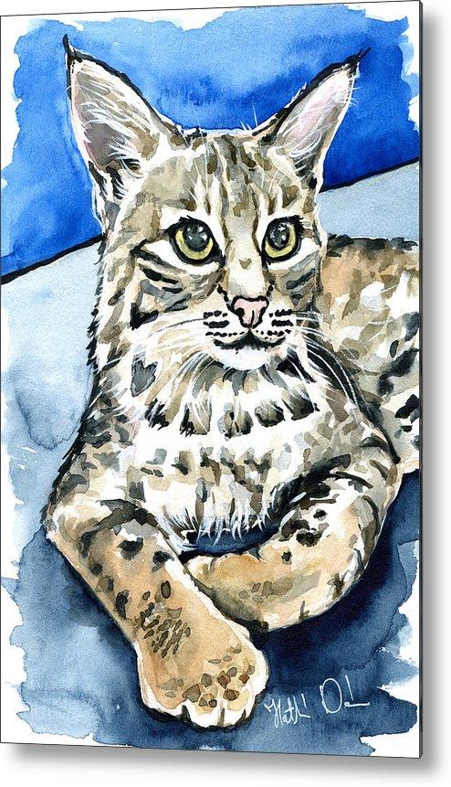 Cat Metal Print featuring the photograph Bobcat Portrait by Dora Hathazi Mendes