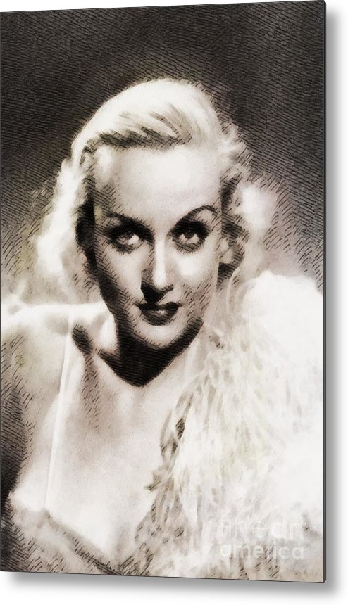 Hollywood Metal Print featuring the painting Carole Lombard, Vintage Actress By John Springfield by John Springfield