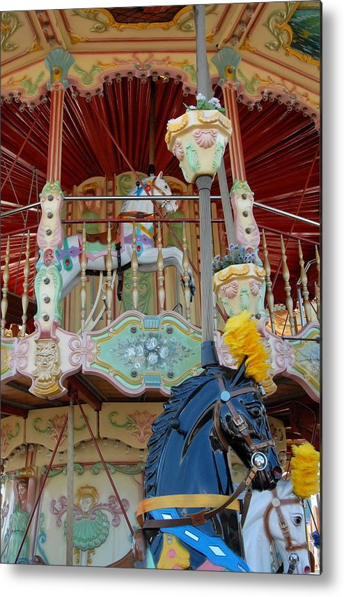 Carrousel Horse Canvas Prints Metal Print featuring the photograph Carrousel 57 by Joyce StJames