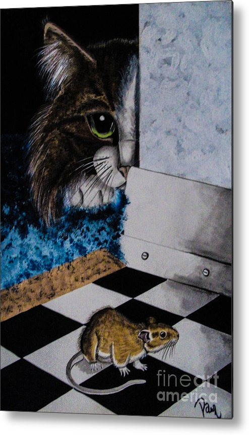 Cat. Mouse. Black And White. Animals. Fine Art. Unique Design. Checker Floor. Metal Print featuring the painting Cat And Mouse by Dawn Siegler