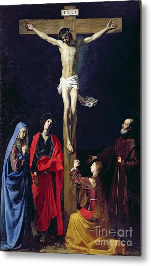 Christ Metal Print featuring the painting Christ On The Cross With The Virgin Mary Magdalene St John And St Francis Of Paola by Nicolas Tournier